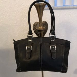 Black 100% Genuine Leather Tignanello Bag